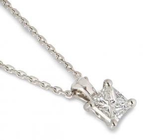 Bespoke Platinum Princess Cut Diamond Pendant