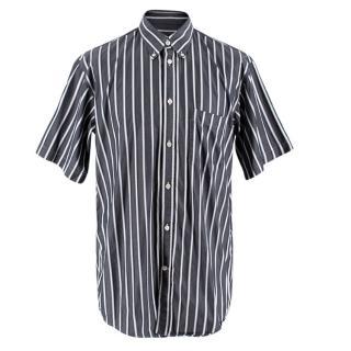 Balenciaga Striped Navy Cotton Men's Short Sleeve Shirt