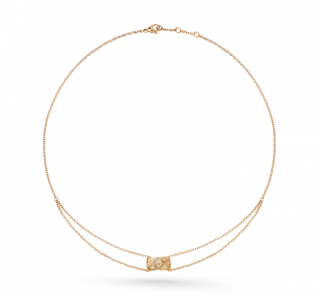Chanel Diamond Necklace in Quilted Beige 18kt Gold