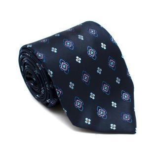 Boucheron Blue Silk Floral Print Jacquard Tie