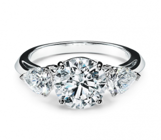 Tiffany & Co Three Stone Engagement Ring - Brilliant/Pear Cut Platinum
