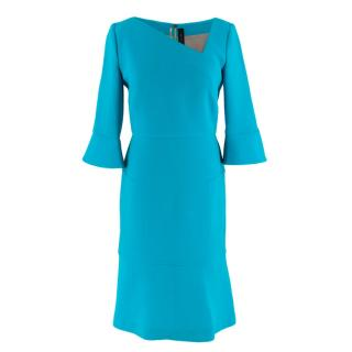 Roland Mouret Turquoise Crepe Asymmetric Dress