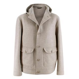 Loro Piana Men's Grey Baby Cashmere Hooded Jacket