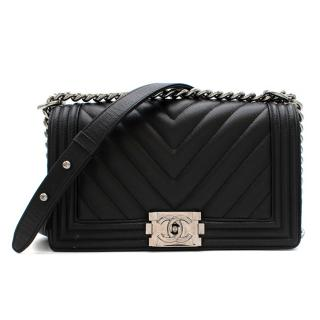 Chanel Black Caviar Calfskin Chevron Boy Bag