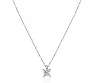 Bespoke Platinum Cushion Cut Diamond Pendant Necklace