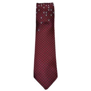 Bottega Veneta burgundy/light blue motif silk tie