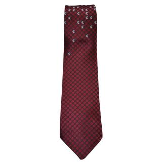 Bottega Veneta burgundy/light blue motif silk tie