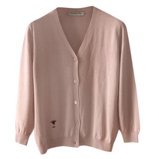 Dior Pale Pink Cashmere & Silk Knit Cardigan