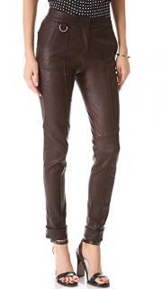 A.L.C.Daniel Burgundy Stretch Leather Trousers