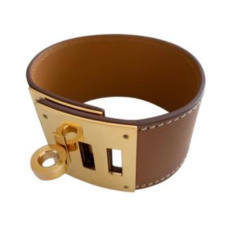 Hermes Gold Swift Leather Kelly Dog Bracelet GHW