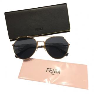 Fendi gold frame hexagonal sunglasses