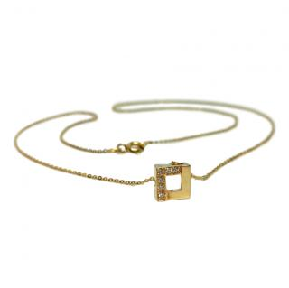 Bespoke gold and diamond cube pendant