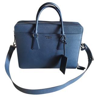 Prada Baltic Blue Classic Saffiano Briefcase