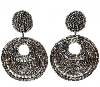 Kenneth Lane Beaded Hoop Drop Earrings