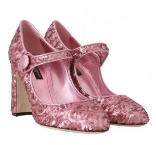 Dolce & Gabbana Pink Sequined Mary Jane Pumps