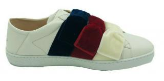 Gucci white Ace velvet bow trainers
