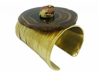 YSL large brown agate cuff