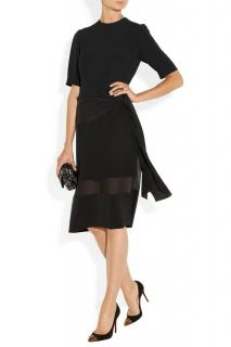 Miu Miu Black waist tie silk cady dress