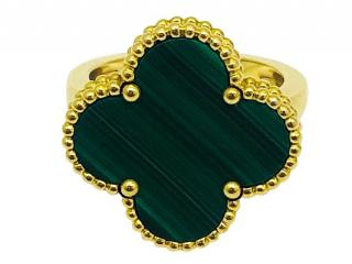 Van Cleef & Arpels malachite Alhambra ring size 55