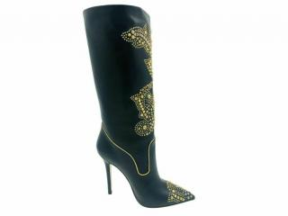 Versace gold studded black leather boots