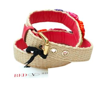 Valentino Embellished Raffia Belt