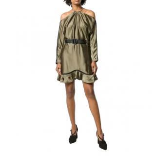 Self Portrait Khaki Satin Cold Shoulder Mini Dress