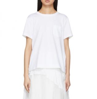 Sacai Luck White T-Shirt with Sheer Underlay