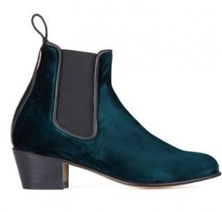 Penelope Chilvers Cubana green velvet boots