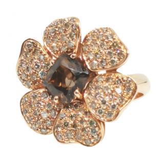 Effy 18ct Rose Gold Smokey Quartz Diamond Floral Ring