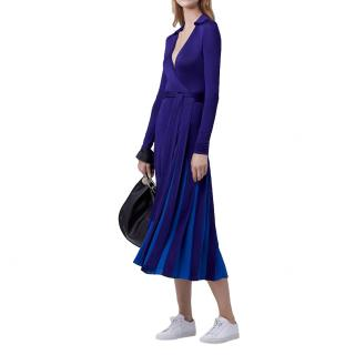 Diane von Furstenberg Stevie Blue Georgette Pleated Wrap Dress