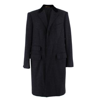 Cifonelli Wool Single Breasted Coat with Velvet Collar