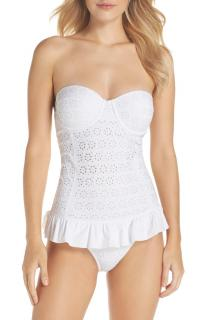 Tory Burch White Broderie Anglaise Flounce One-Piece