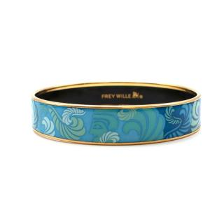 Frey Wille 24kt Gold Plated Diva Blue Bordered Bangle