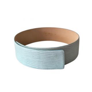 Max Mara Baby Blue Embossed Waist Belt