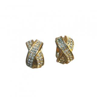Christian Dior Vintage Crystal Gold Plated Earrings