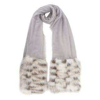 Fendi Rabbit Fur Trimmed Pearl Grey Cashmere & Silk Scarf