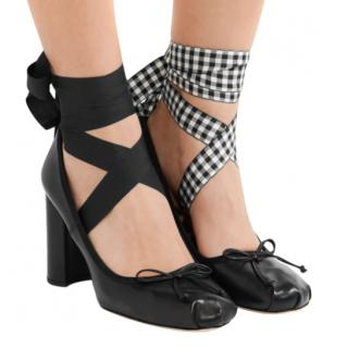 Miu Miu Black Block Heeled Ankle Wrap Ballerinas