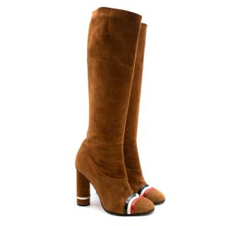 Loewe Tan Suede Round Heel Boots with Stripe