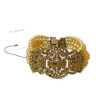 Ben Anum Art Deco Crystal Embellished Faux Pearl Bracelet