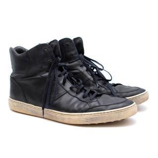 Tod's Blue Leather High Top Sneakers