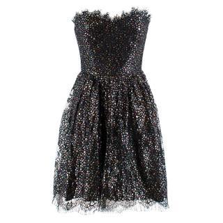 Saint Laurent Black Metallic Stars Lace Trim Strapless Dress