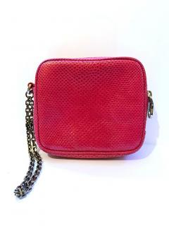 Loewe pink water snake clutch purse with chain