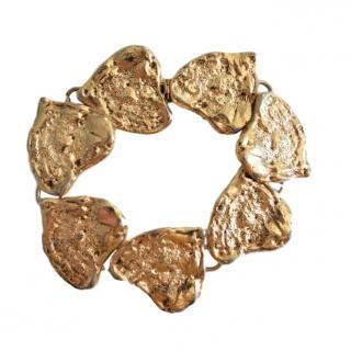 Yves Saint Laurent Vintage Textured Gold Tone Bracelet