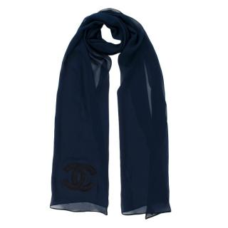 Chanel Navy Sheer Silk CC Scarf