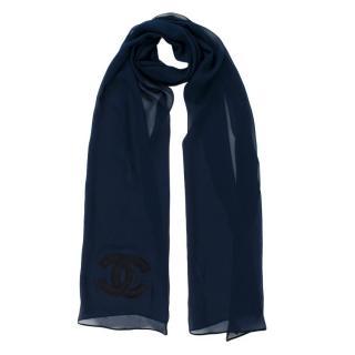 Chanel Navy Sheer Silk CC Scarf
