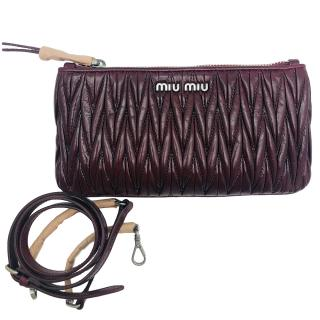 Miu Miu burgundy Matelasse clutch bag
