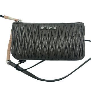 Miu Miu grey matelasse leather clutch bag
