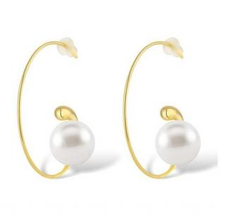 Salvatore Plata Open Swirl Hoop Peal Earrings