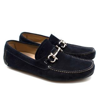 Ferragamo Navy Suede Loafers