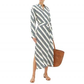 Asceno Silk Striped Belted Shirt Dress